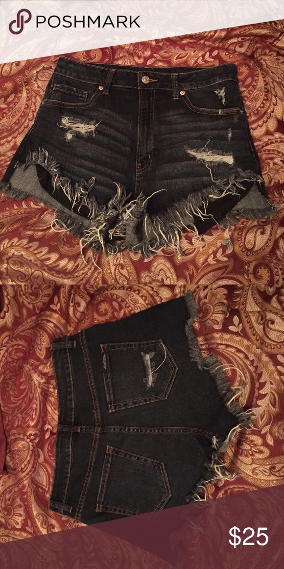 Destroyed High Rise Shorts Destroyed high rise shorts. Dark wash. FINAL PRICE DROP. Just USA Shorts Jean Shorts