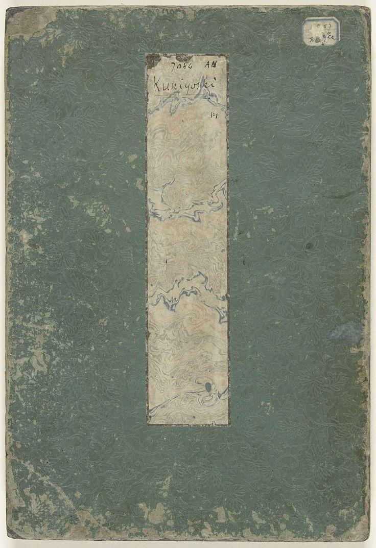 Utagawa Kuniyoshi | Verhalen over de ware loyaliteit van de trouwe samoerai, Utagawa Kuniyoshi, Ebiya Rinnosuke, 1847 - 1848 | Album met de complete prentserie 'Seichu gishi den'. Groene kaft met bloempatroon in blinddruk en blanco titelstrook; 27 bladen: 50 prenten waarop elk van de 47 ronin is afgebeeld, met omschrijving in Japans; één triptiek waarop de 47 ronin afgebeeld tijdens voorbereidingen in de sneeuw; drie prenten als triptiek ingeplakt, met komische afbeeldingen van de 47 ronin.