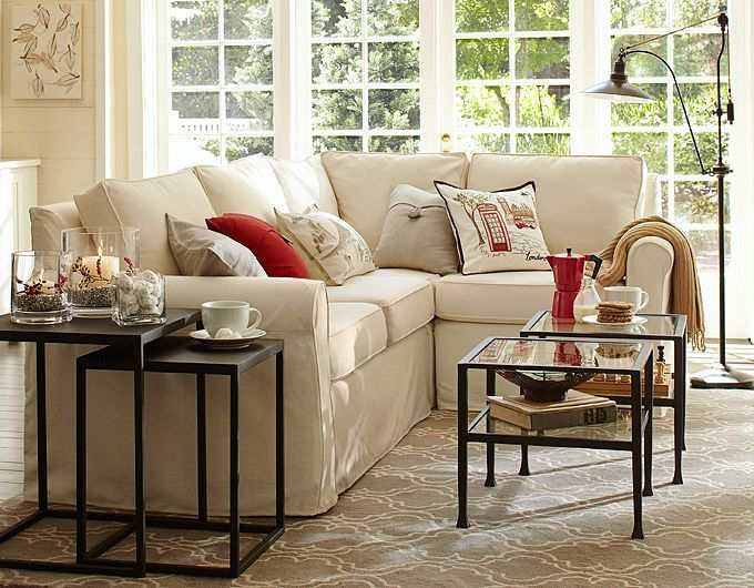 Decorated Family Rooms | Pottery Barn : pottery barn cameron sectional - Sectionals, Sofas & Couches