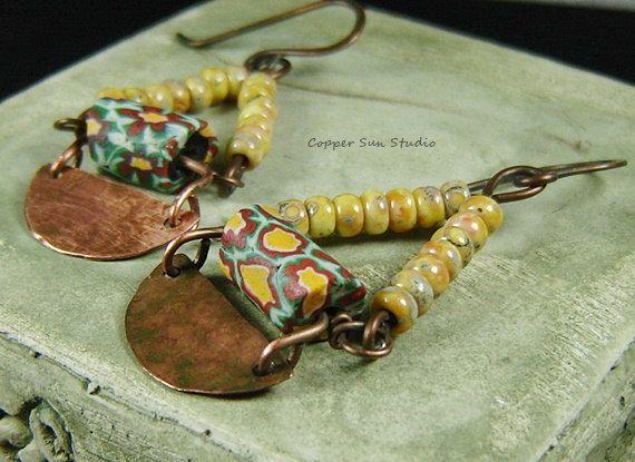 Boho giallo orecchini perline monili di rame di CopperSunStudio