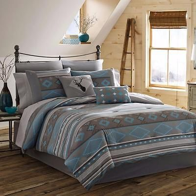 Grey gray turquoise blue rustic southwestern lodge cabin comforter set descriptionset includes one comforter, sham(s) and bedskirt. Twin includes one standard sham; full/queen include two standard shams; king includes two king shams. Available in twin, full, queen and king. reverse pattern: stripe drop length: 15 inch product features: bedskirt included, reversible bedding material: polyester style: casual, modern, patterned, transitional, southwest pattern: abstract, graphic print, zi...