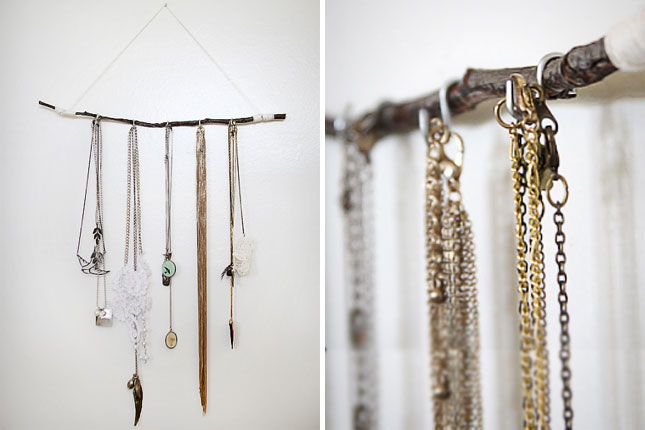 Twig and Twine Jewelry Hanger | 30 Clever Ways to Keep Your Jewelry Organized