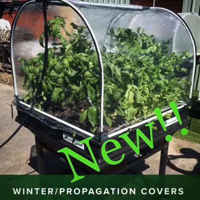 Our new clear non-permeable covers create a greenhouse environment for plants. They allow sunlight to come through and trap the heat in, whilst keeping extreme cold and precipitation out! They can be sheathed directly over the regular mesh canopies or replace them altogether. Great for seedling propagation, cold weather, season extensions, early starts! See our website for details 🤙🌊. . Medium pod on stand, Vegepod Shedquarters
