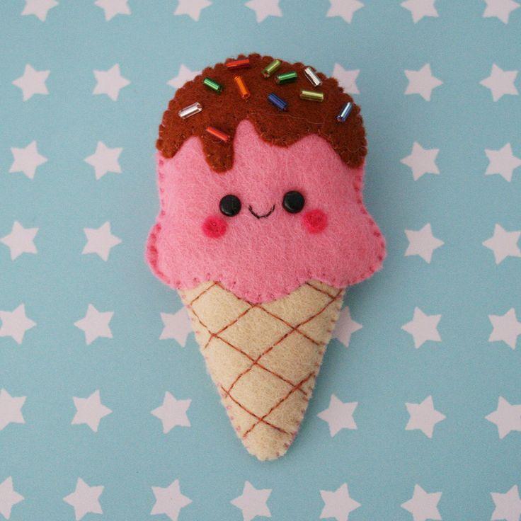 Strawberry Ice Cream Felt Brooch.