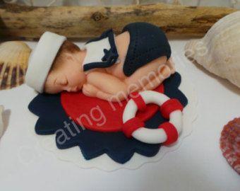 Torta de fondant bebé náutica. Adornos de torta para por anafeke2