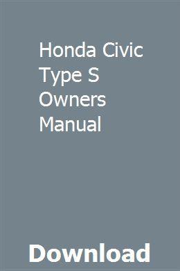 Honda Civic Type S Owners Manual download pdf
