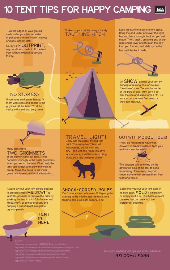 Tent infographic.  Camping tips from REI.