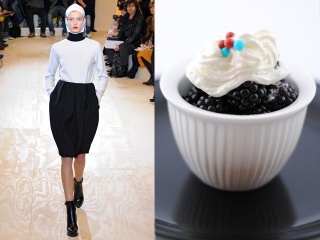 Jil Sander fw 2011-12 / Whipped cream with blackberries and sugar pralines
