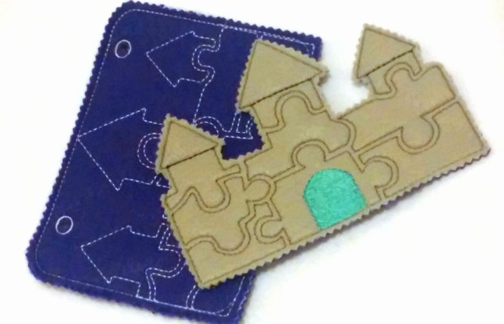 """Castle Felt puzzle quiet book page, perfect busy book page. Can be added with any of our other quiet book pages. Template case measures 5""""X 7"""" with a pocket on the back to hold the pieces. The back of"""