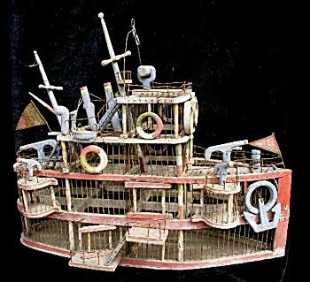Victorian Folk Art Bird Cage 19th Century Battle Ship Steam Boat