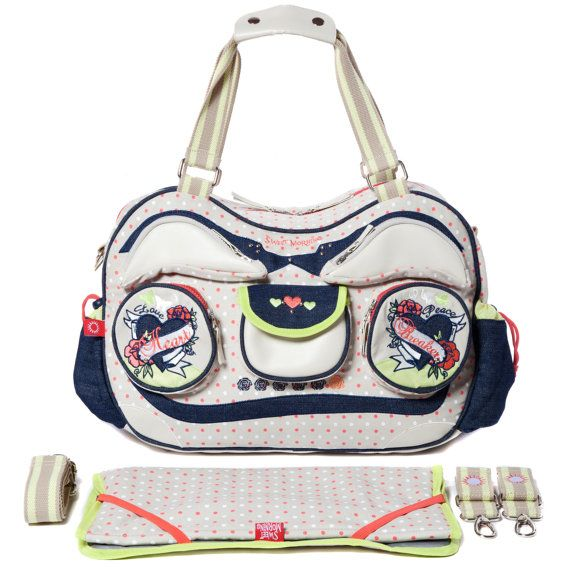large designer nappy bag RADIO GA GA HEARTbreaker collection by Sweet Morning www.sweetmorning.com große Designer Wickeltasche  Radio Ga Ga von von SweetMorningBags, €169.95