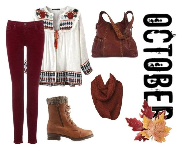 """October Witch outfit"" by vibsitsi on Polyvore featuring Kooba, Charlotte Russe, AG Adriano Goldschmied, Croft & Barrow, orange, cozy, pagan and wicca"