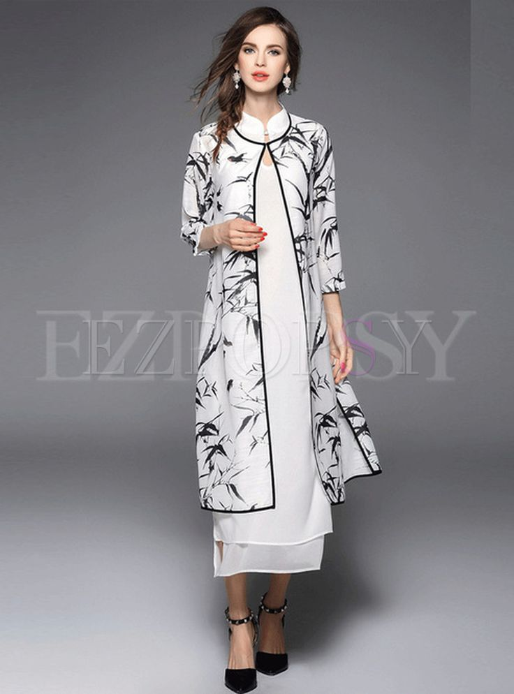 Shop for high quality White Long Dress With Print Coat online at cheap  prices and discover