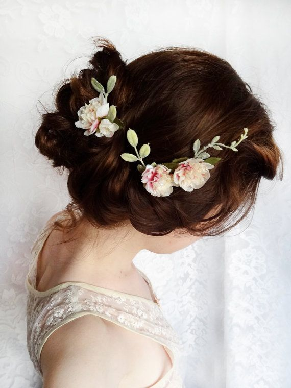 This shop has everything you need for the midsummers night dream bridal party! Love! cream flower hair pins mauve pink bridal by thehoneycomb on Etsy, $55.00
