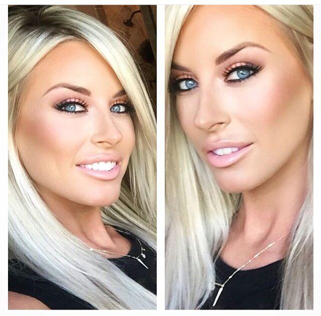 "Makeup! Lips: MAC ""myth"" lipstick and ""pink lemonade"" lipglass. Face: Anastasia Beverly Hills medium contour kit and MAC ""peaches"" blush. NYX matte finish setting spray."