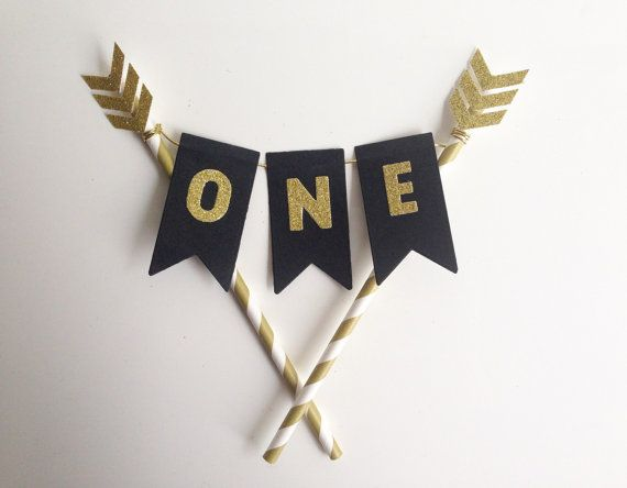 1st Birthday Bunting Cake Topper black and gold by ConfettiDay