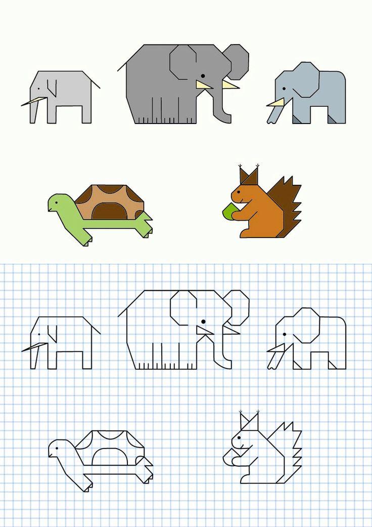 Animales en cuadrícula, varios modelos