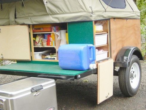 Front galley on a home-built Explorer Box lightweight camping trailer