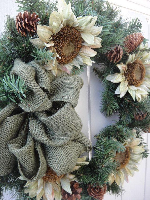 Sunflower wreath outdoor wreath elegant wreath sunflowers autumn wreath fall wreath hand crafted