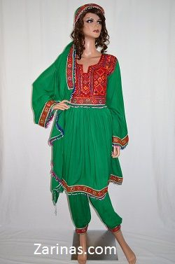 "Gulzar Kuchi Afghan Dress.  Beautifully embroidered traditional Afghan Kuchi tribal dress. The material is soft, breathable, and light weight - perfect for the summer! Comes with matching pants, head scarf, and adjustable belt at the waist. The measurement of the bust is 19"" from seam to seam, and the length is 36"" long from the back. Color: Green.  Size: Small to Large (Depending on bust size)"