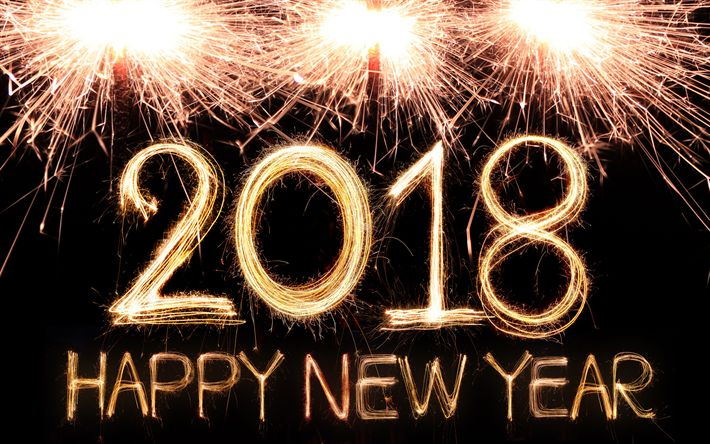 Download wallpapers Happy New Year 2018, firework, 4k, Christmas 2018, New Year 2018, xmas, Christmas
