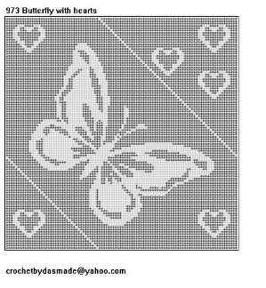 973 Butterfly Hearts Filet Crochet Doily Afghan Tablecloth Pattern by Beverley Engelbrecht