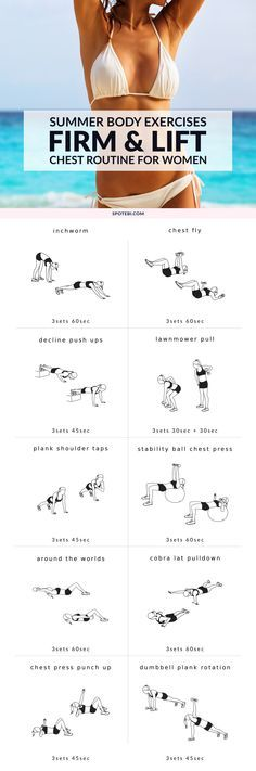 Firm your breasts and give your bust line a lift with this killer chest workout for women. 10 at-home moves to strengthen your pec muscles and help you enhance your cleavage, just in time for summer! http://www.spotebi.com/workout-routines/firm-and-lift-your-breasts-chest-workout-for-women/