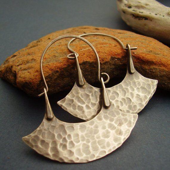 Small Tribal Hoops  Sterling Silver Hoop Earrings   by Mocahete, $64.00