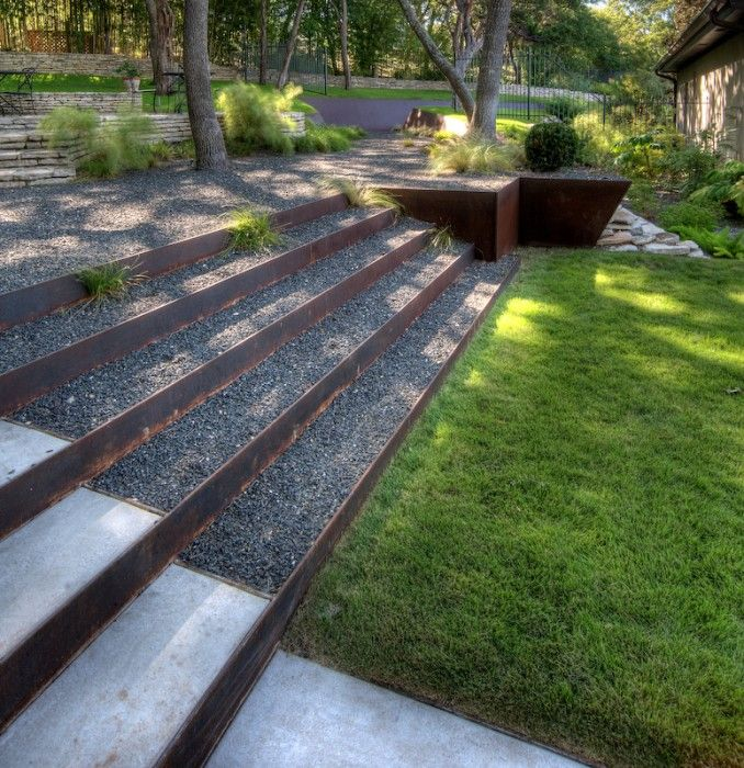 Corten steel and gravel steps like the tiering up to the for Landscape design steps