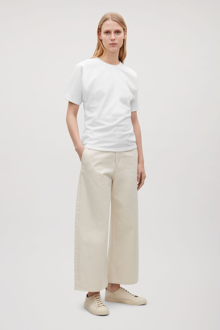 fbc85a859489 COS image 4 of Curved wide-leg jeans in Ivory | Fashion | Shirts ...