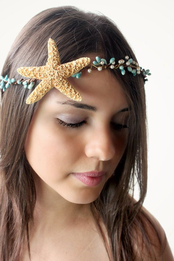 Beach Wedding Hair Accessory, headpiece, destination Wedding, starfish, bohemian, rustic, mermaid crown, summer, hair accessories on Etsy, $70.00