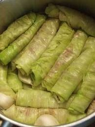 Malfoof (Stuffed rolled cabbage with rice and lamb meat)