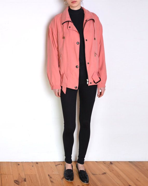 90's Italian silky pink jacket salmon pink by WoodhouseStudios