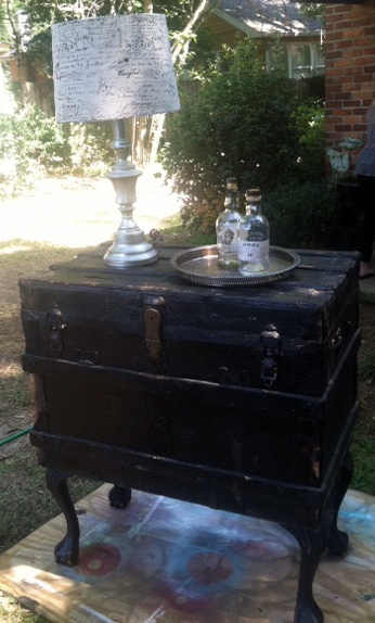 Steamer trunk re-purposed into a serving buffet | finally, an idea for something to do with my mom's steamer trunks!!