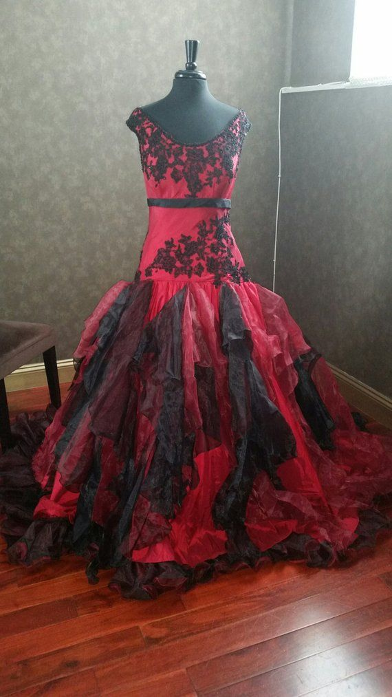 Beautiful red and black wedding dress, gothic wedding dress, red wedding dress, R