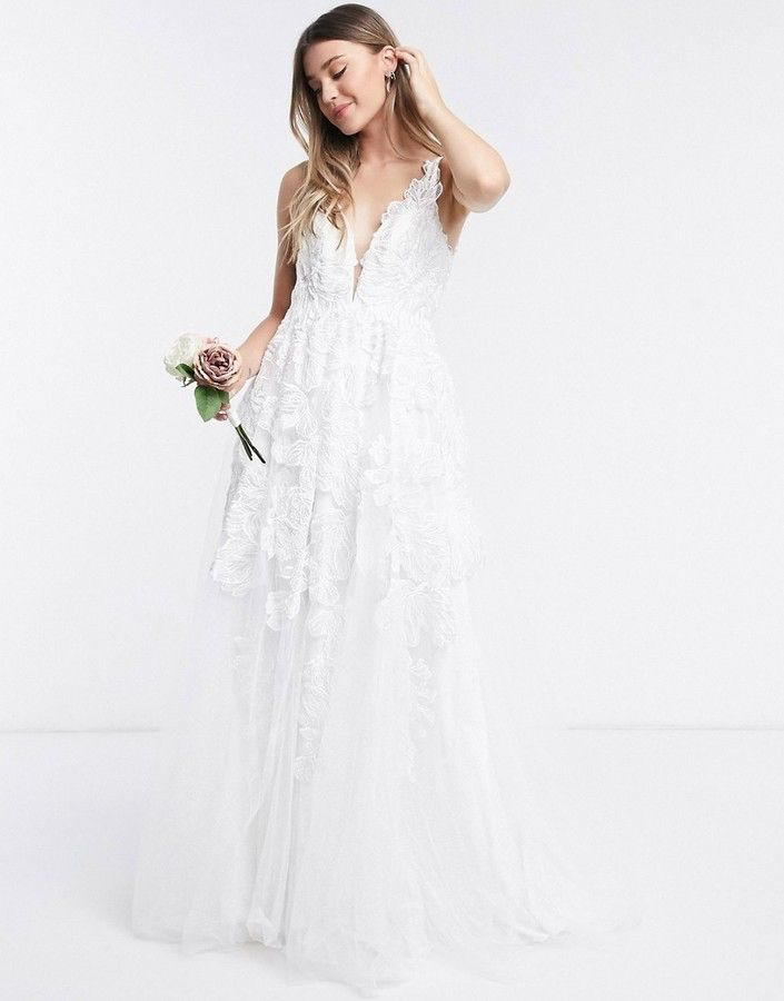 Asos Edition Celia Beaded Floral Embroidered Mesh Wedding Dress
