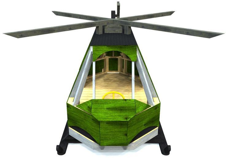 front view of wooden huey helicopter playhouse
