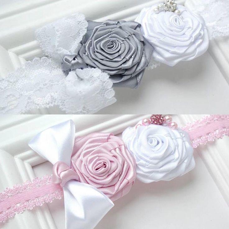 Opaska / Hairband #handmade #baptism #pink #grey #white #flower #kids #baby #bow #girl #filipola #fashionkids #dladzieci #accessories #amazing