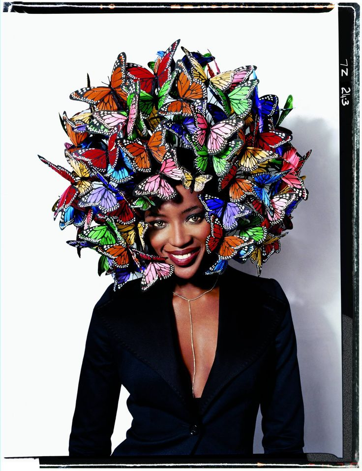 Naomi Campbell in Phillip Treacy hat. Photo: David La Chapelle.