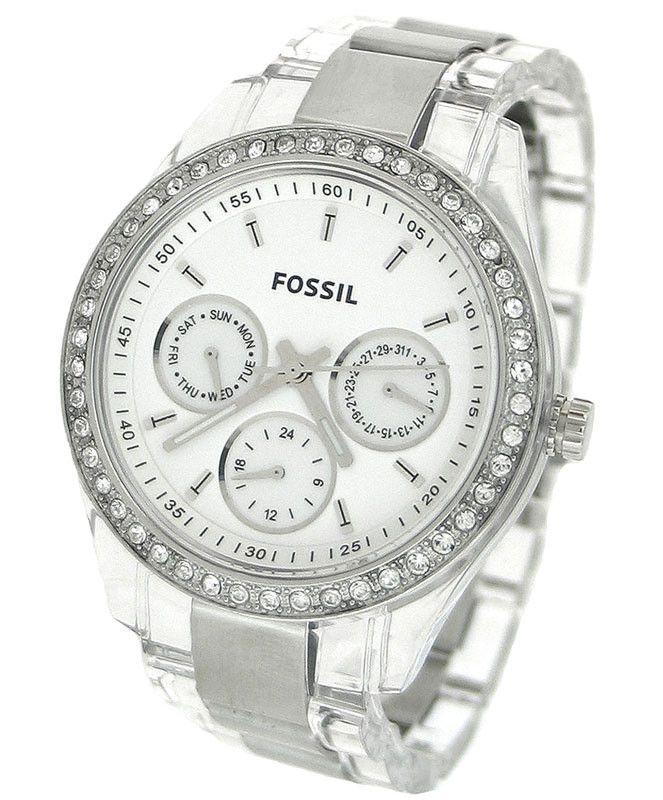 FOSSIL ES2821 Women's Quartz Crystal Plastic Strap Watch