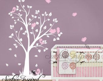Wall Decal Nursery Tree Decal with Butterflies by SurfaceInspired