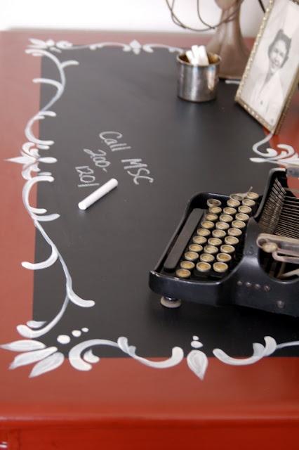 chalkboard desk. http://soyouthinkyoucandecorate.blogspot.com/2010/04/week-6.html