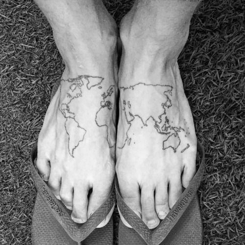 Philippe Leblond - World Map Tattoo Feet Travel Wanderlust