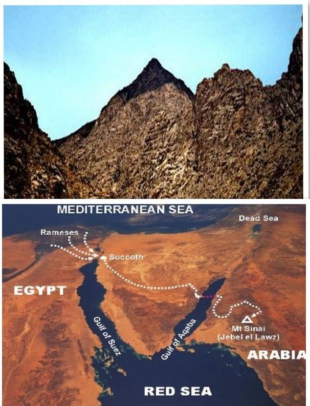 """The real Mt. Sinai is not in the Sinai Peninsula but is in Saudi Arabia as the Bible says in Galatians 4:25 -  """"For this Agar is mount Sinai in Arabia"""".  Notice how the top of the mountain is blackened."""