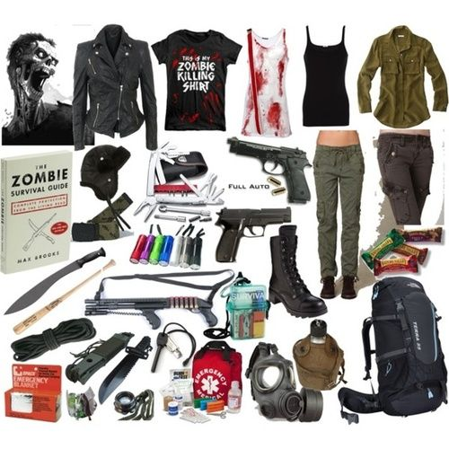 Zombie apocalypse outfit. (though I would not wear the bloody tank.)