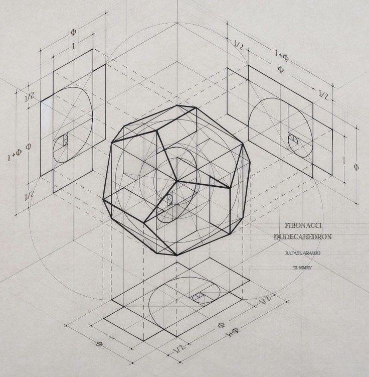 The Fibonacci spirals & the Phi Golden Ratio 1:1.618 inside the Dodecahedron. (c) Rafael Araujo & Nassim Haramein