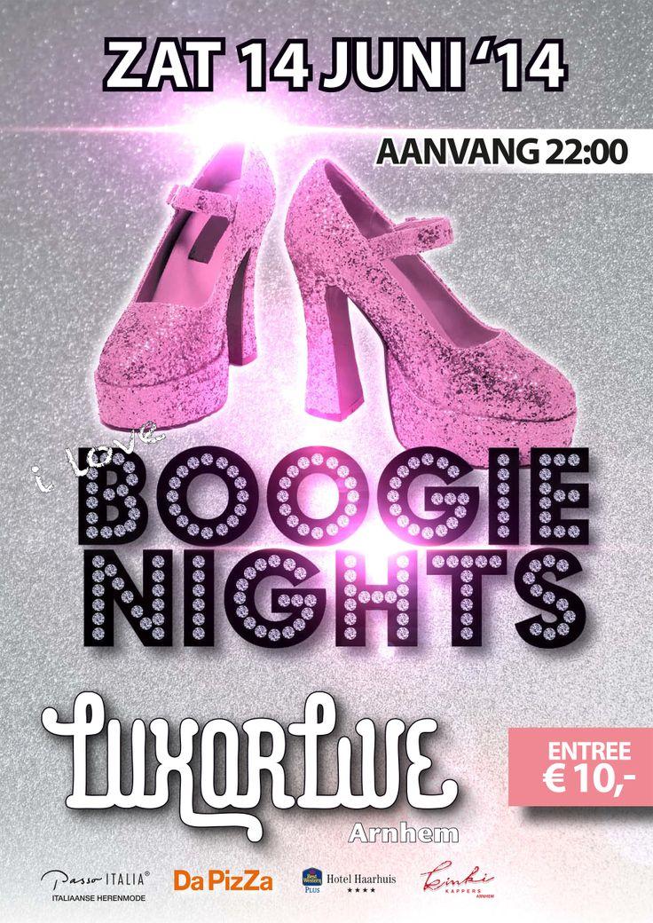 Als je nog nooit op een Boogie Nights-feest bent geweest, heb je er inmiddels vast wel over gehoord. Tijdens dit feest draaien DJ's Erwin Peters (Veronica) en Rob Spijker (ID&T, Slam FM) de beste platen uit de 70's en 80's. Als geen ander weten zij op welke disco en dancetracks de bezoekers uit hun dak gaan. Zet er een kenmerkende, lichtgevende dansvloer bij en de sfeer van de avond is compleet. #80s #90s #disco