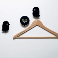 Porte manteau design Patères déco Oiseaux et cœur, Domestic