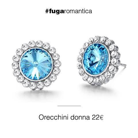Orecchini in metallo con cristalli bianchi e azzurri Luca Barra Gioielli! #orecchini #gioiellidonna #lucabarra #newcollection #tendenzemoda #pe2015 #totalwhite