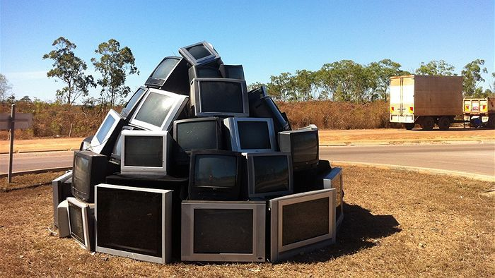 Television sculpture by Alice Rae. Gloucestershire Resource Centre http://www.grcltd.org/scrapstore/